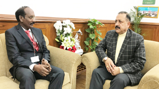 New Chairman ISRO, Dr K Sivan making a courtesy call to Union Minister Dr Jitendra Singh after taking over his new assignment at New Delhi on Thursday.