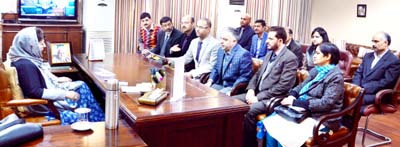 A deputation meeting with Chief Minister Mehbooba Mufti at Jammu on Monday.
