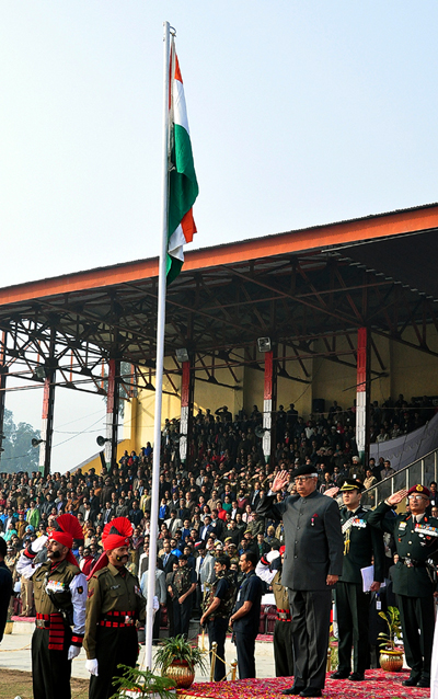 Governor, N N Vohra taking salute during Republic Day Parade at M A Stadium, Jammu on Friday.