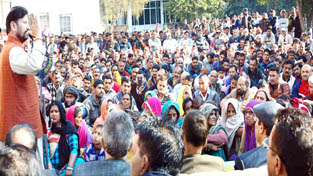 Forest Minister, Ch Lal Singh speaking during public grievances redressal camp at Kathua on Sunday.