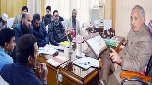 Minister for Revenue, A R Veeri chairing a meeting at Jammu on Tuesday.