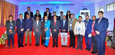 Director IIM Sirmaur, Prof Neelu Rohmetra and Corporate stalwards at Leadership Summit on Saturday.