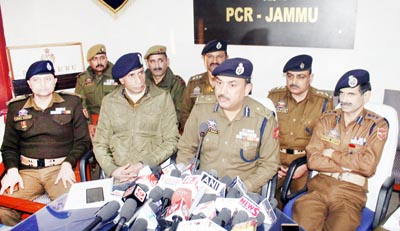 IGP Jammu Zone Dr SD Singh interacting with media persons at Jammu on Friday. -Excelsior/ Rakesh