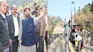 Forest Minister Lal Singh taking stock of developmental work in Basohli on Saturday.