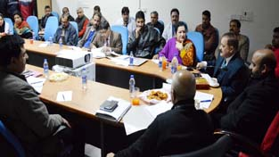 Health Minister Bali Bhagat chairing a meeting at Jammu on Tuesday.