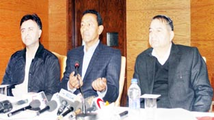 CLP leader Nawang Rigzin Jora addressing press conference in Jammu on Monday. -Excelsior/ Rakesh