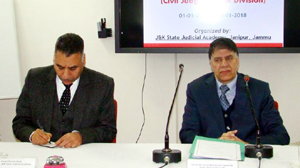 Justice Mohammad Yaqoob Mir addressing judicial officers on Wednesday.