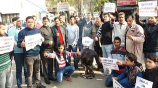 NPP activists staging protest in Jammu on Tuesday.