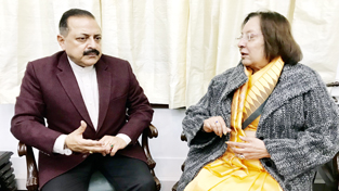 Governor of Manipur, Najma Heptullah calling on Union Minister Dr Jitendra Singh, at New Delhi on Tuesday.