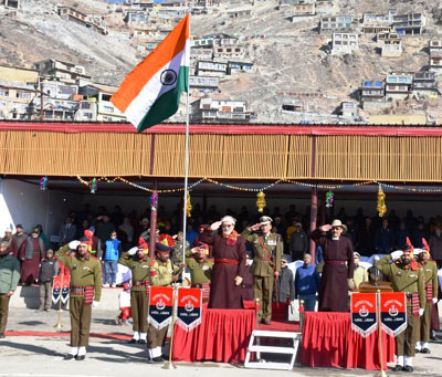 CEC LAHDC, Dr Sonam Dawa Lonpo taking salute during R-Day parade at Polo Ground, Leh.