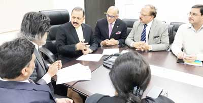 Union Minister Dr Jitendra Singh at a meeting with a delegation of PHD Chamber of Commerce and Industry, led by its National President Anil Khaitan, at New Delhi on Monday.