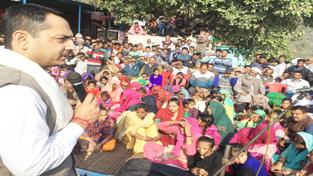 MLA Ramnagar addressing Janta Darbar on Monday.
