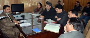 Minister for Education, Altaf Bukhari chairing a meeting at Jammu on Wednesday.