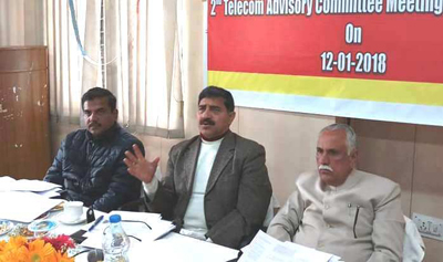 MPs Jugal Kishore Sharma and Shamsher Singh Manhas chairing a meeting at BSNL office, Bahu Plaza, in Jammu.