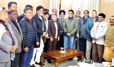 Newly elected office bearers of J&K chapter of Forum of SC, ST Legislators & Parliamentarians posing for a group photograph at Jammu.