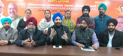 BJP senior leader and State Incharge All Cells Varinderjit Singh interacting with media persons at Jammu on Friday.