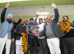 BSP leaders presenting bouquet to Raja Ram, MP Rajya Sabha and co-ordinator of BSP for J&K, during a function at Jammu.