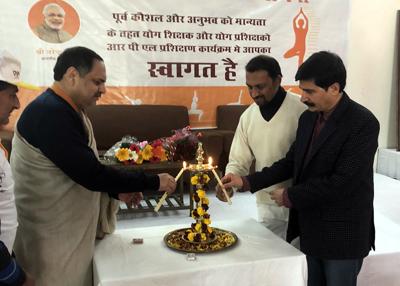 SDM RS Pura, Naresh Sharma, along with Savinder Gupta, Coordinator, J&K SSRDP and Dr Traun Garg, senior AoL Yoga Teacher, inaugurating a three-day PMKVY RPL Yoga Instructor programme at NITS Polytechnic, Miran Sahib, Jammu.