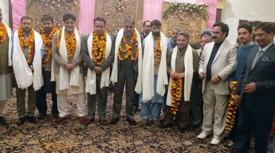 Ministers and legislators being felicitated by Confederation of SC/ST/OBC Organisations at a function in Jammu.