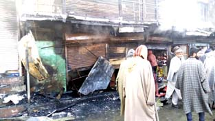 A view of damage caused by fire in Sopore. -Excelsior/Aabid Nabi