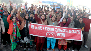 Contractual lecturers protesting on Monday. —Excelsior/Rakesh