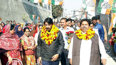 JKPCC president GA Mir and senior Congress leader, Raman Bhalla during a function at Gangyal in Jammu.