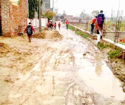 Pitiable condition of Shiv Nagar Vijaypur road. -Excelsior/Gautam