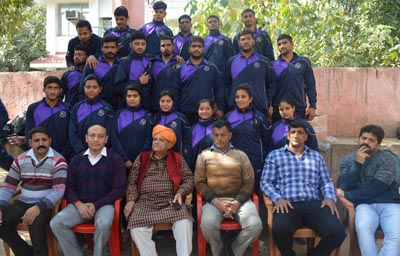 Wrestlers posing for a photograph alongwith MLC Ashok Khajuria before departing for Nationals.