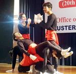Students performing activity during Cultural and Literacy Fest 'Yuv Tarang' at GCW Gandhi Nagar in Jammu.