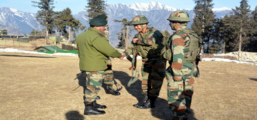 Army vice chief Lt Gen Sarath Chand meeting troops on the LoC.