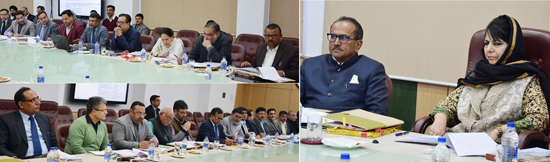 Chief Minister Mehbooba Mufti chairing seventh Industrial Advisory Committee meeting in Jammu on Wednesday.
