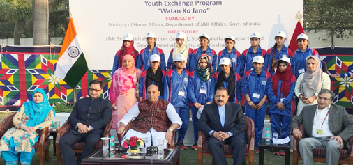 Union Home Minister Rajnath Singh, MoS in PMO Dr Jitendra Singh and MoS Home Kiren Rijiju with the youths of J&K, in New Delhi on Sunday.