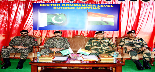 BSF and Rangers at Sector Commander level flag meeting in Suchetgarh on Friday.