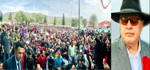 NC president Dr Farooq Abdullah addressing YNC convention in Rajouri on Monday.