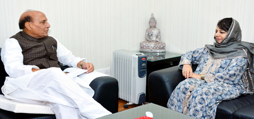 Chief Minister Mehbooba Mufti in a meeting with Union Home Minister Rajnath Singh in New Delhi on Tuesday.
