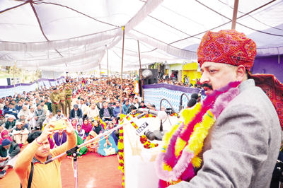 Union Minister Dr Jitendra Singh addressing a public meeting at Ghordi in Chenani Assembly segment of district Udhampur on Tuesday.