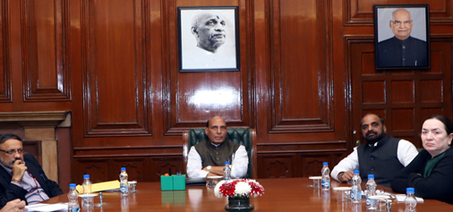 Union Home Minister, Rajnath Singh chairing a review meeting on countering terrorism in New Delhi on Friday.