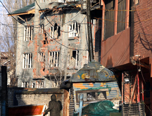 A building where two militants were killed at Karan Nagar, Srinagar on Tuesday. -Excelsior/Shakeel