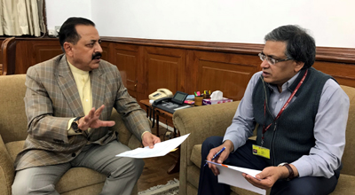 MoS in PMO Dr Jitendra Singh and MHA Joint Secretary Gyaneshwar Sharma at a meeting in New Delhi on Monday.