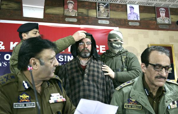 ADGP Muneer Khan at a press conference in Srinagar on Thursday. -Excelsior/Shakeel