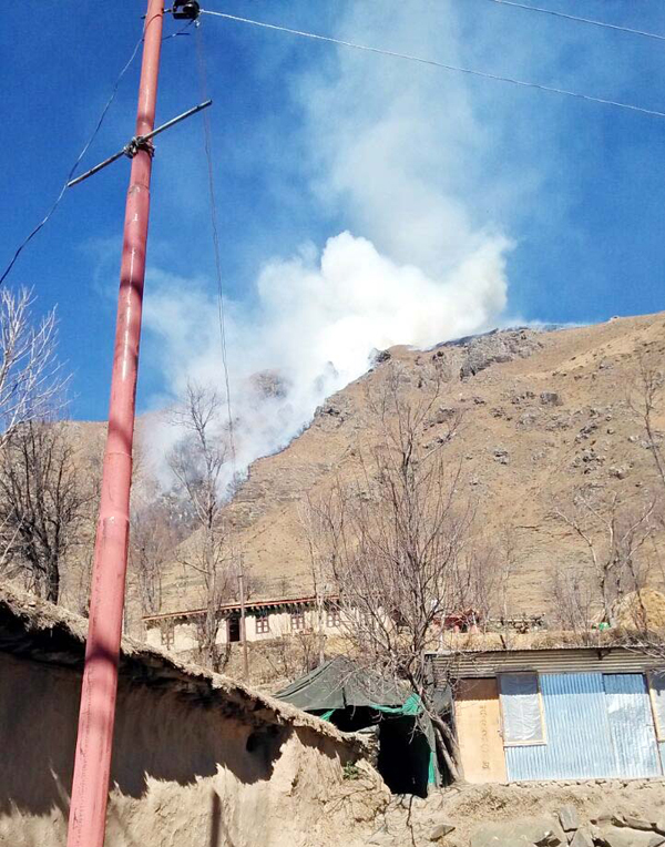 A mortar shell explodes in Shahpur area of Poonch on Sunday.