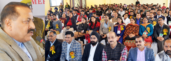 Union Minister, Dr Jitendra Singh addressing a function at Kathua on Saturday.