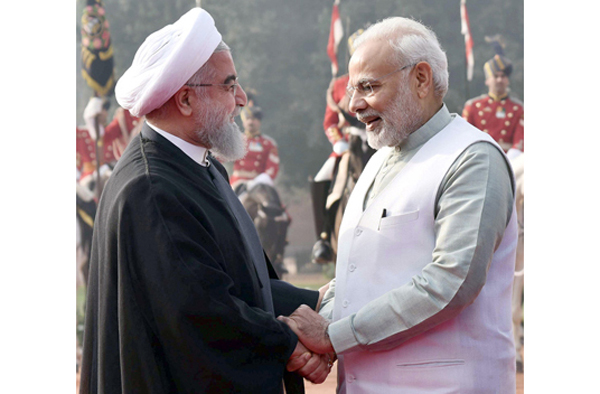 President of Iran, Dr Hassan Rouhani being received by Prime Minister Narendra Modi at Rashtrapati Bhavan in New Delhi on Saturday.