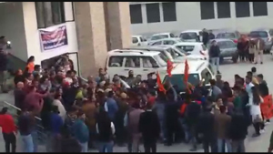 Protesting students gherao Education Minister Altaf Bukhari at Jammu on Sunday.