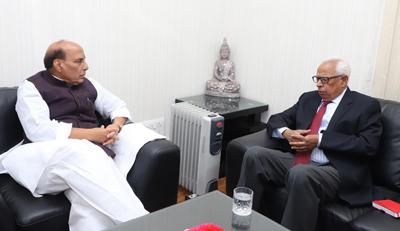 Governor of Jammu & Kashmir N N Vohra calling on Union Home Minister Rajnath Singh, in New Delhi on Sunday. (UNI).