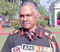 Northern Command chief Lt Gen Devraj Anbu speaking to reporters on Wednesday.