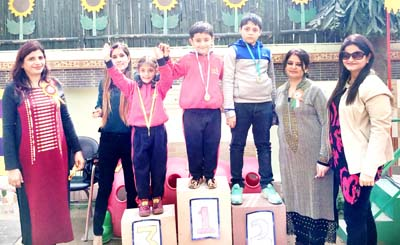 Winners being honoured at Euro Kids while celebrating Annual Sports Day.