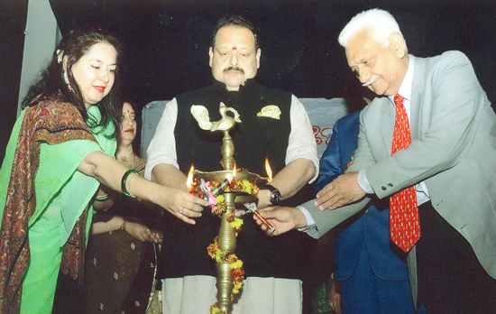 Devendra Singh Rana and other dignitaries lighting a lamp during Annual Day of ANNIZONE Meadow of Angles.