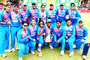 Indian eves posing for a photograph after winning T20 series at Cape Town on Saturday.