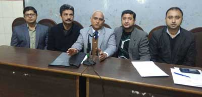 Director Research and others from SKUAST-Jammu addressing press conference at Jammu on Sunday.